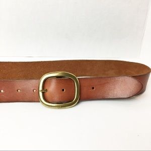 SZ Small Aerie Brown Leather Belt Gold Hardware